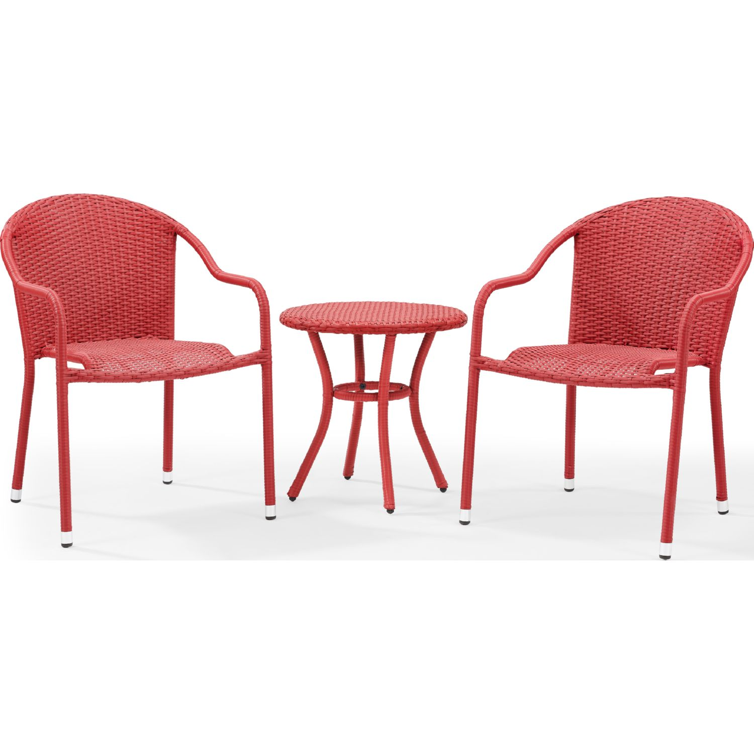 Palm Harbor 3 Piece Outdoor Wicker Cafe Seating Set In Red 2 Stacking Chairs And