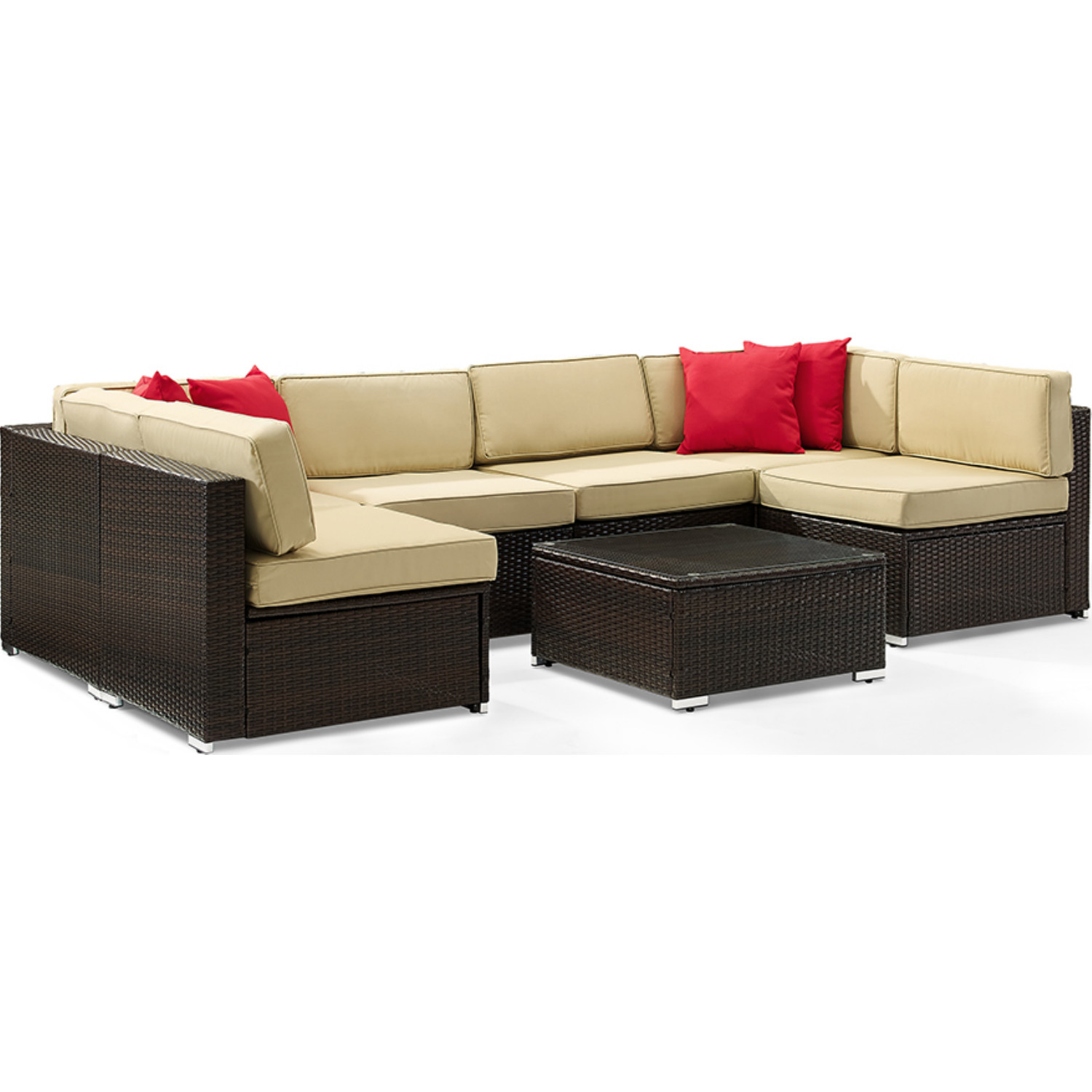 Stupendous Sea Island 7 Piece Outdoor Sectional Sofa Set In Brown Resin Wicker Sand Fabric By Crosley Squirreltailoven Fun Painted Chair Ideas Images Squirreltailovenorg