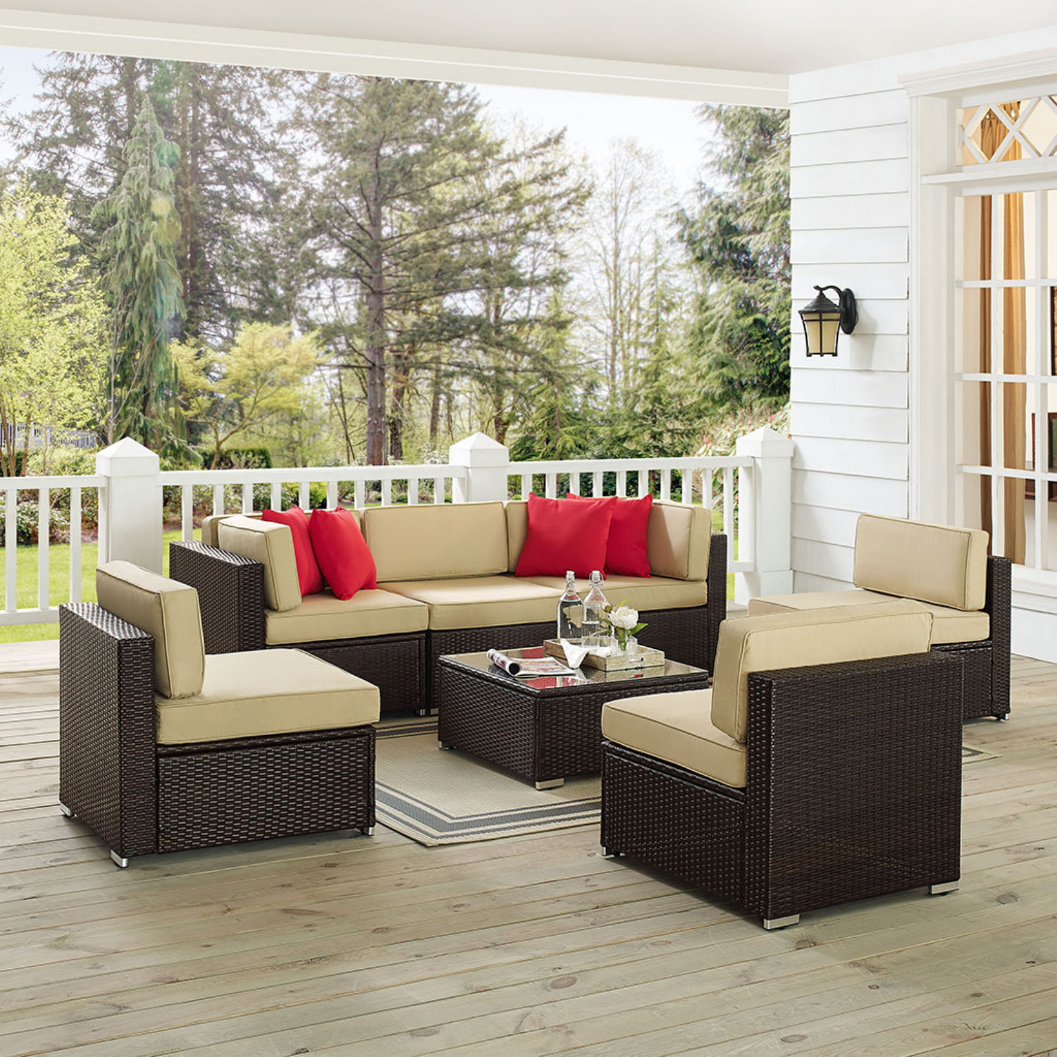 Crosley KO70149 BR Sea Island 7 Piece Outdoor Sofa Set In