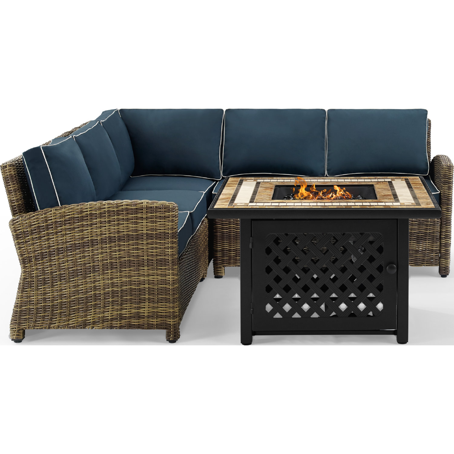 Bradenton 4 Piece Outdoor Sectional Sofa Set in PE Wicker w/ Navy Cushions  by Crosley