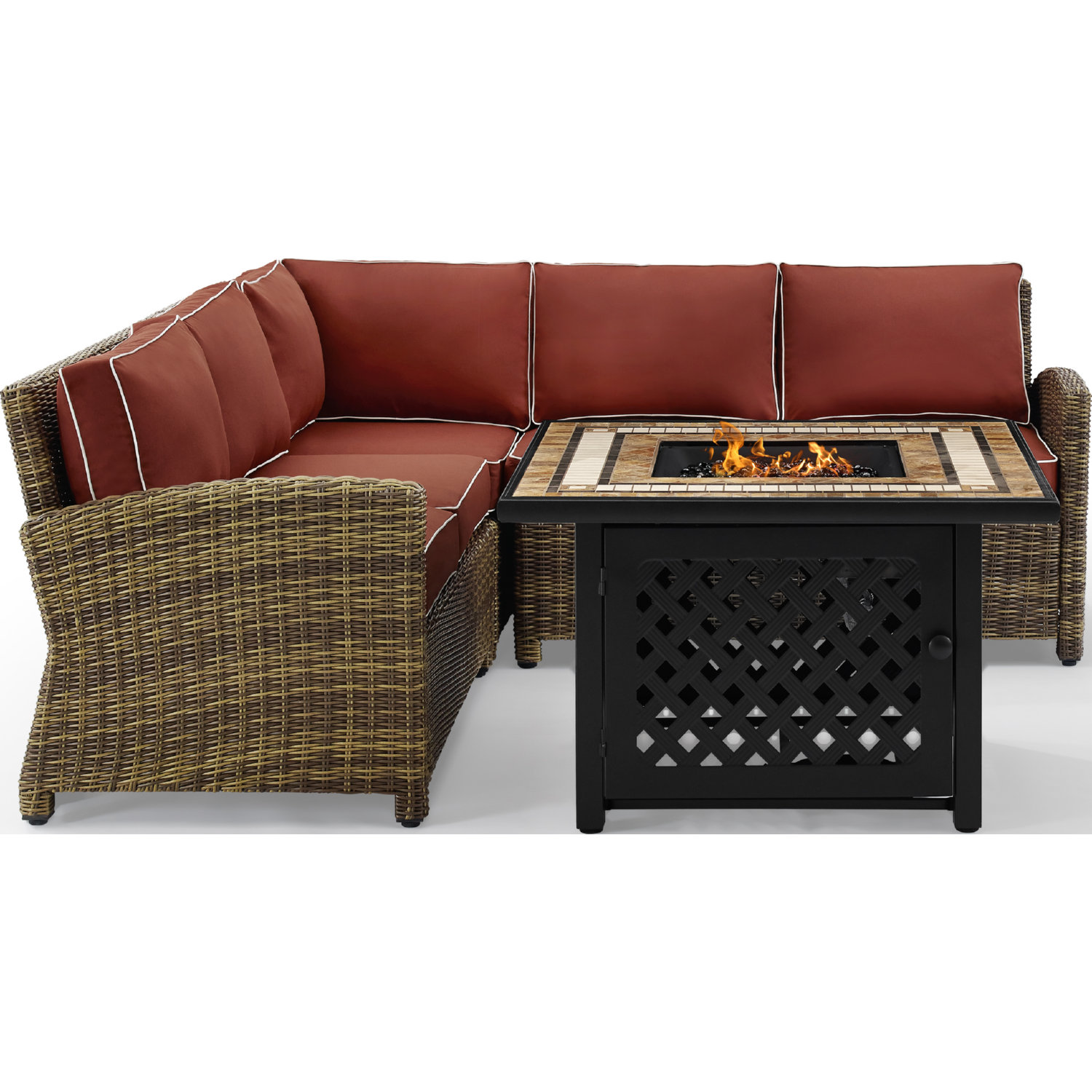Bradenton 4 Piece Outdoor Sectional Sofa Set in PE Wicker w/ Sangria  Cushions by Crosley