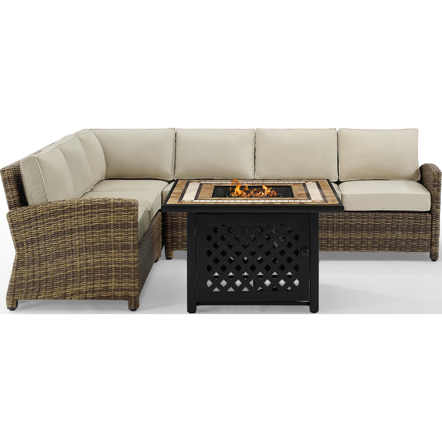 Bradenton 5 Piece Outdoor Sectional Sofa Set in PE Wicker w/ Sand Cushions  by Crosley