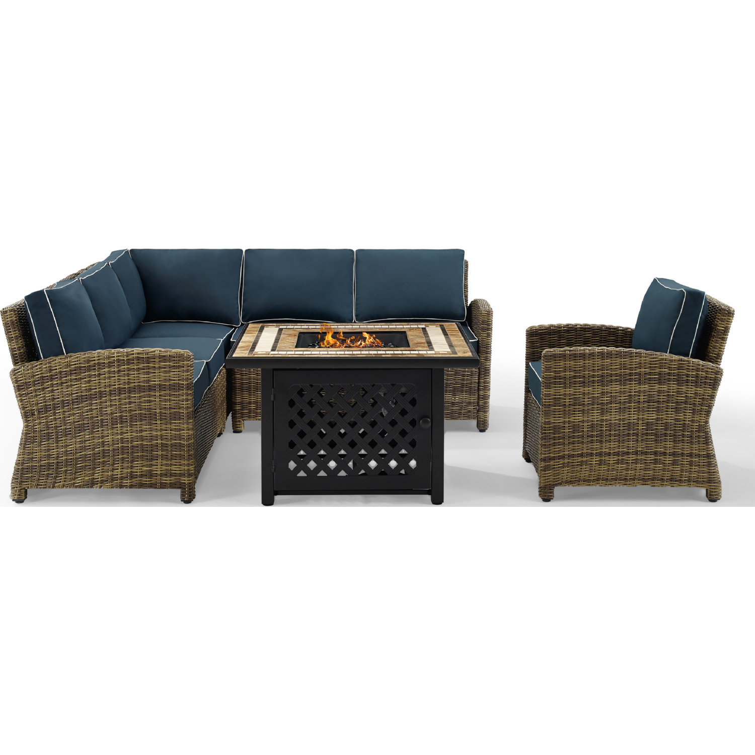 Crosley KO70159-NV Bradenton 5 Piece Outdoor Sectional Sofa Set in ...