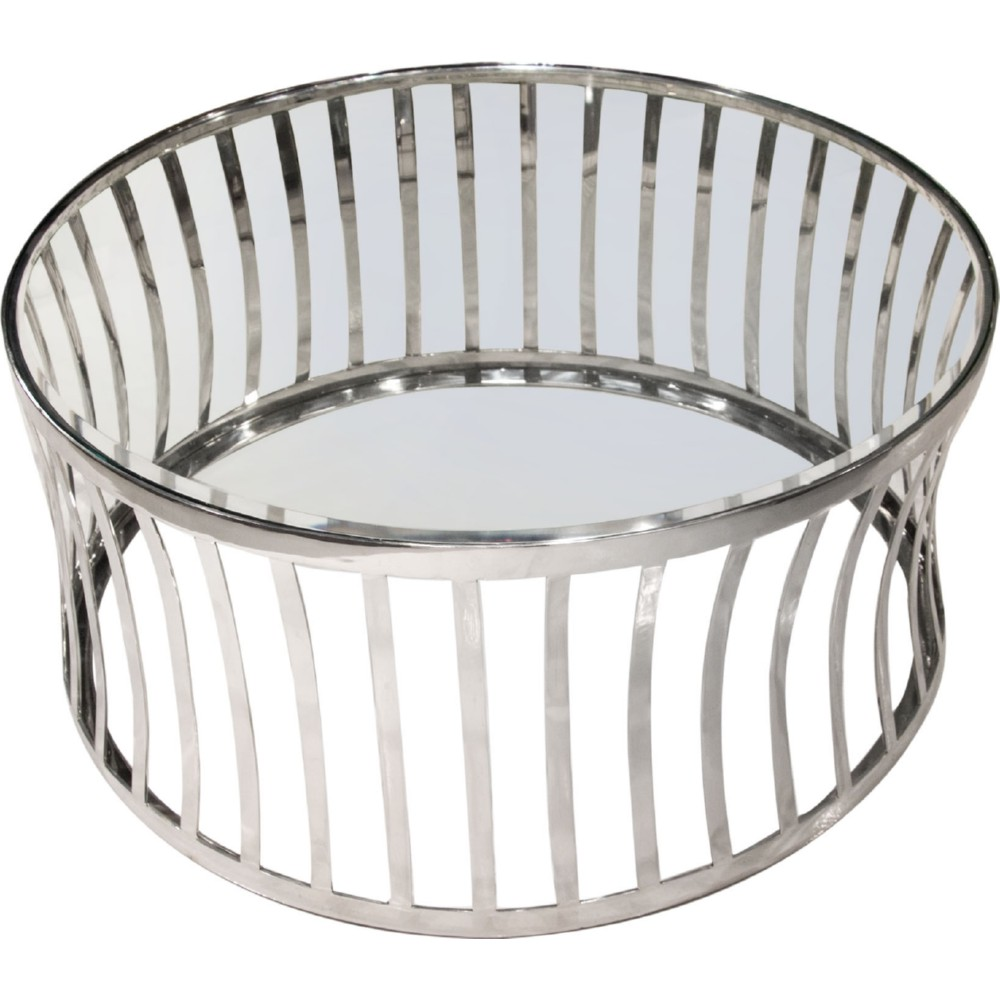 Diamond Sofa CAPRICTST Capri Round Stainless Steel Cocktail Table W/ Clear  Tempered Glass Top