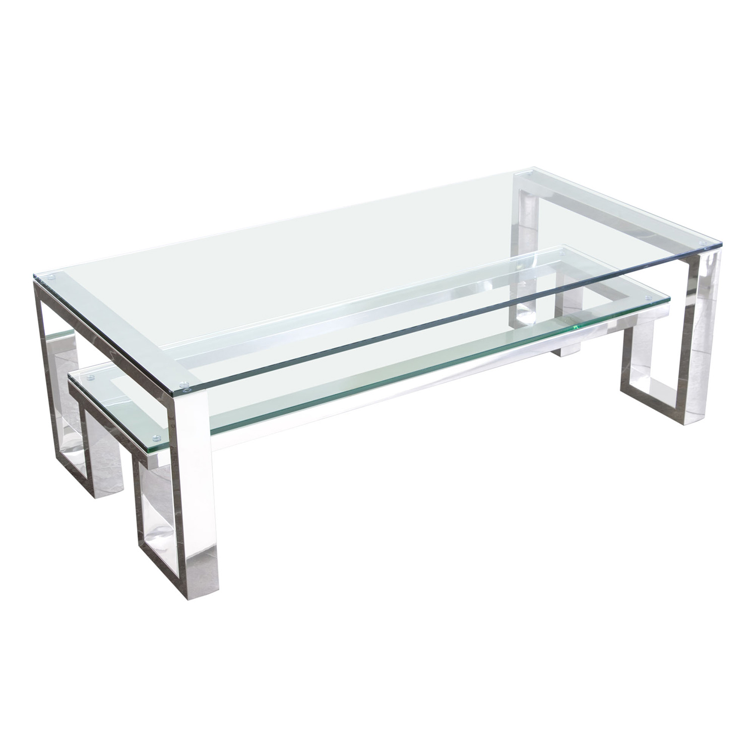 Stainless Steel Coffee Table: CARLSBADCT Carlsbad Cocktail Table W/ Clear Glass Top