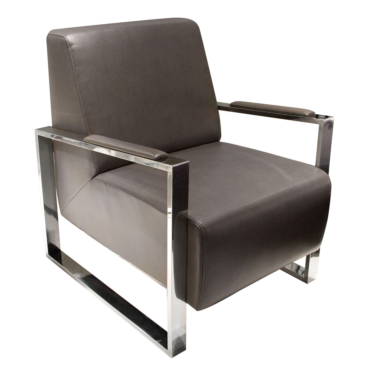 Strange Century Accent Chair In Grey Leather W Stainless Steel Frame By Diamond Sofa Machost Co Dining Chair Design Ideas Machostcouk