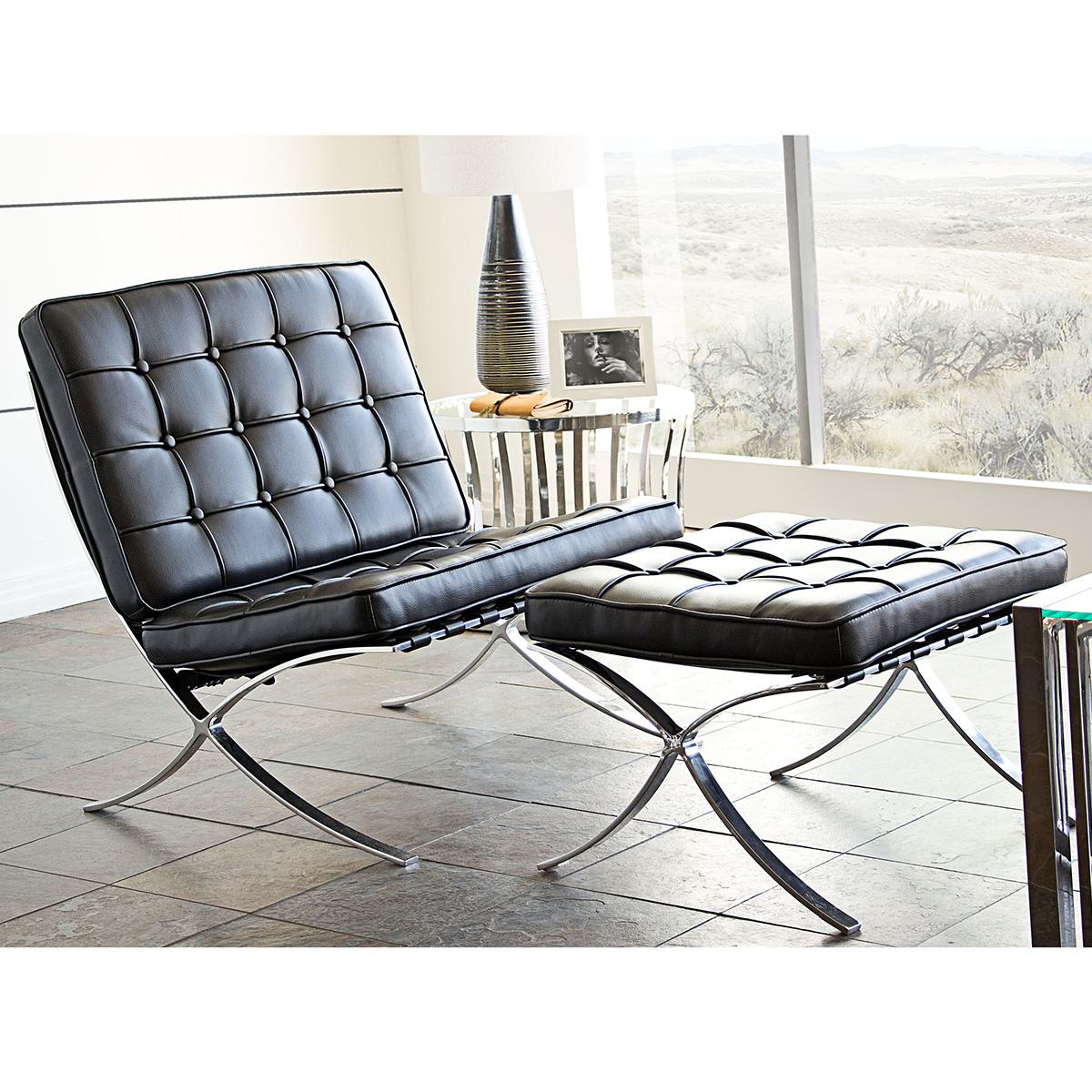 Charmant Diamond Sofa Cordoba Tufted Chair U0026 Ottoman Set W/ Stainless Steel Frame In  Black Leather