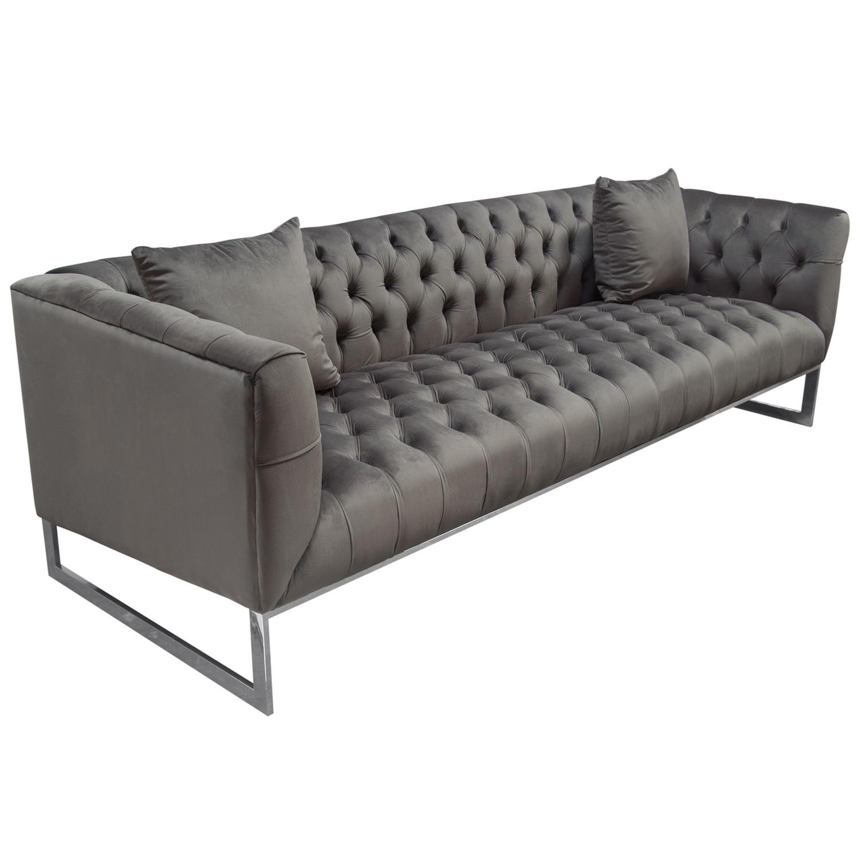 Crawford Sofa In Tufted Dusk Grey Velvet Polished Metal By Diamond