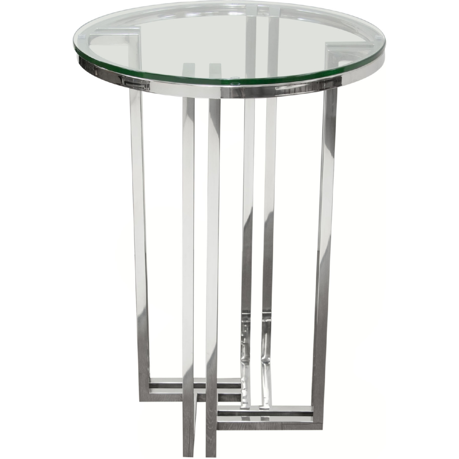 Diamond Sofa DEKO Polished Stainless Steel Round Accent Table W/ Tempered Glass  Top