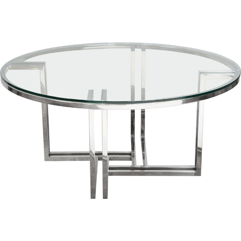 Diamond Sofa DEKORCT DEKO Polished Stainless Steel Round Cocktail