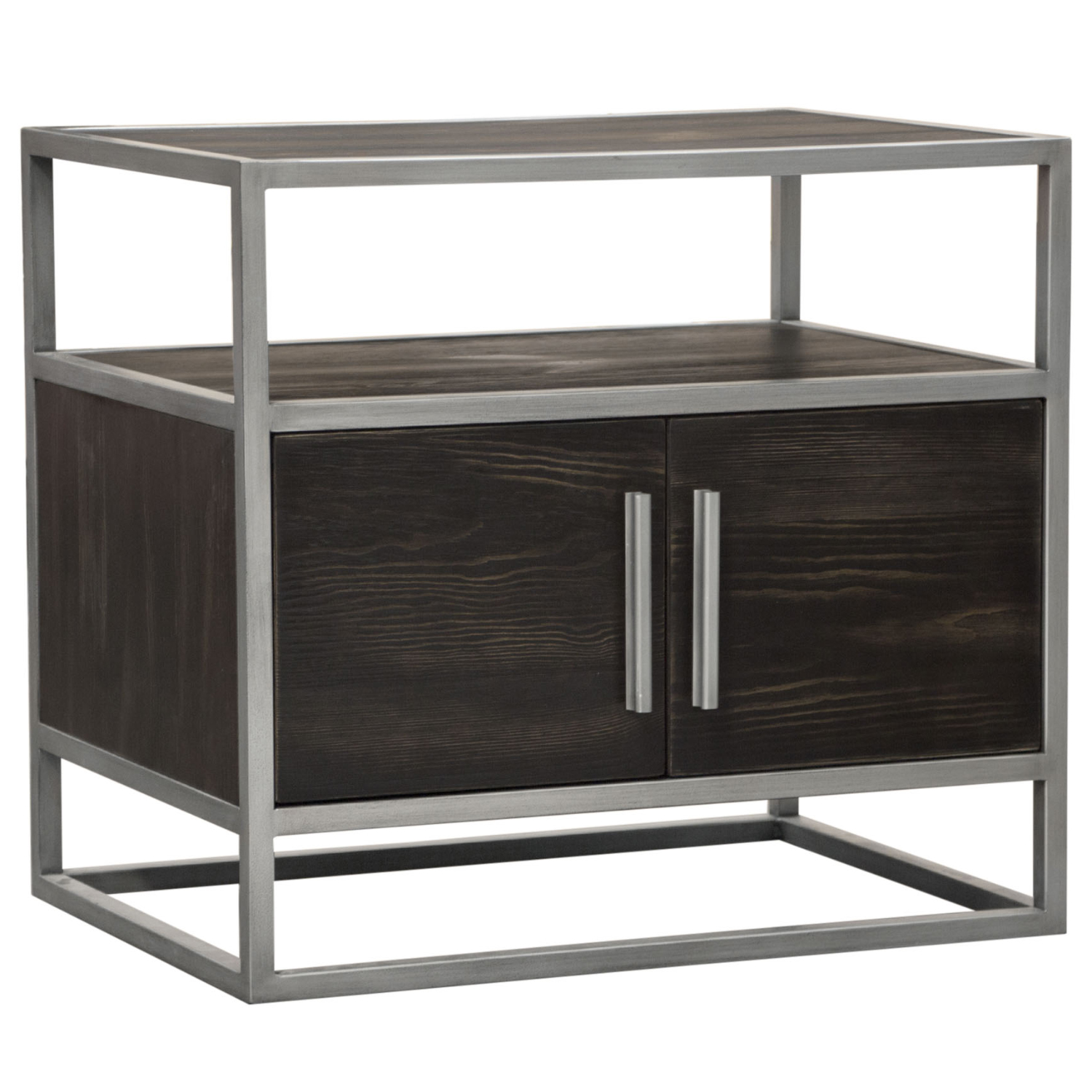Empire End Table In Weathered Brown Veneer Brushed Silver Metal By Diamond Sofa
