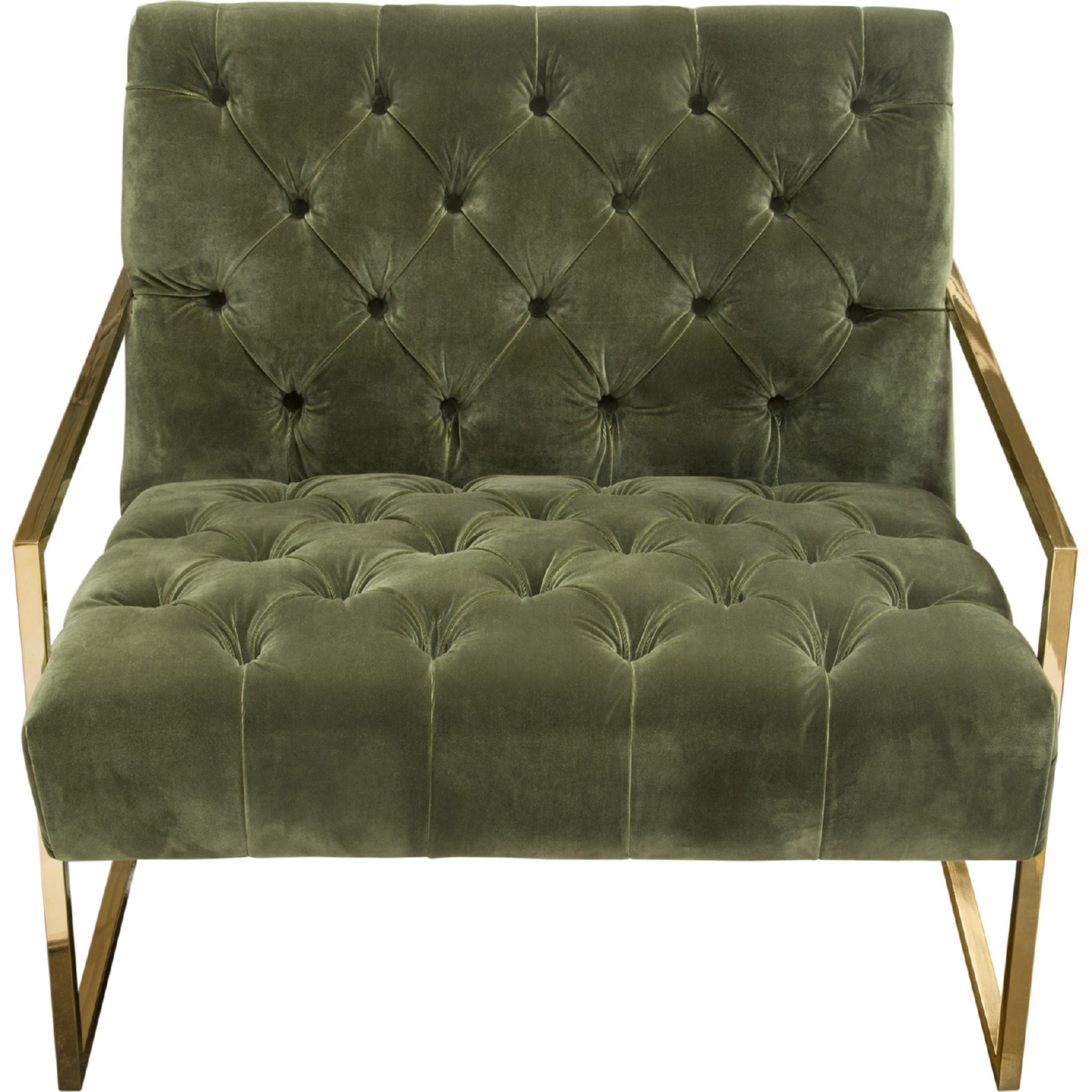 Diamond Sofa Luxe Accent Chair In Tufted Olive Green Velvet On Polished  Gold Stainless