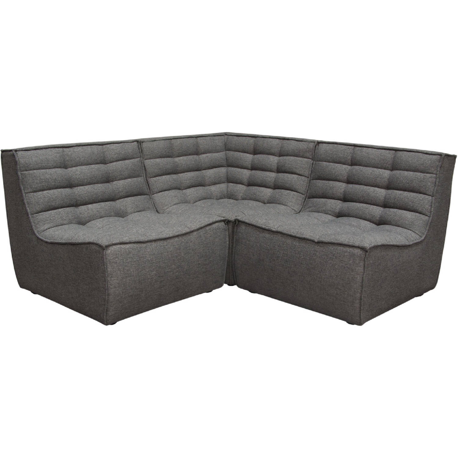 Marshall 3 Piece Modular Sectional Sofa In Tufted Grey Fabric By Diamond Sofa