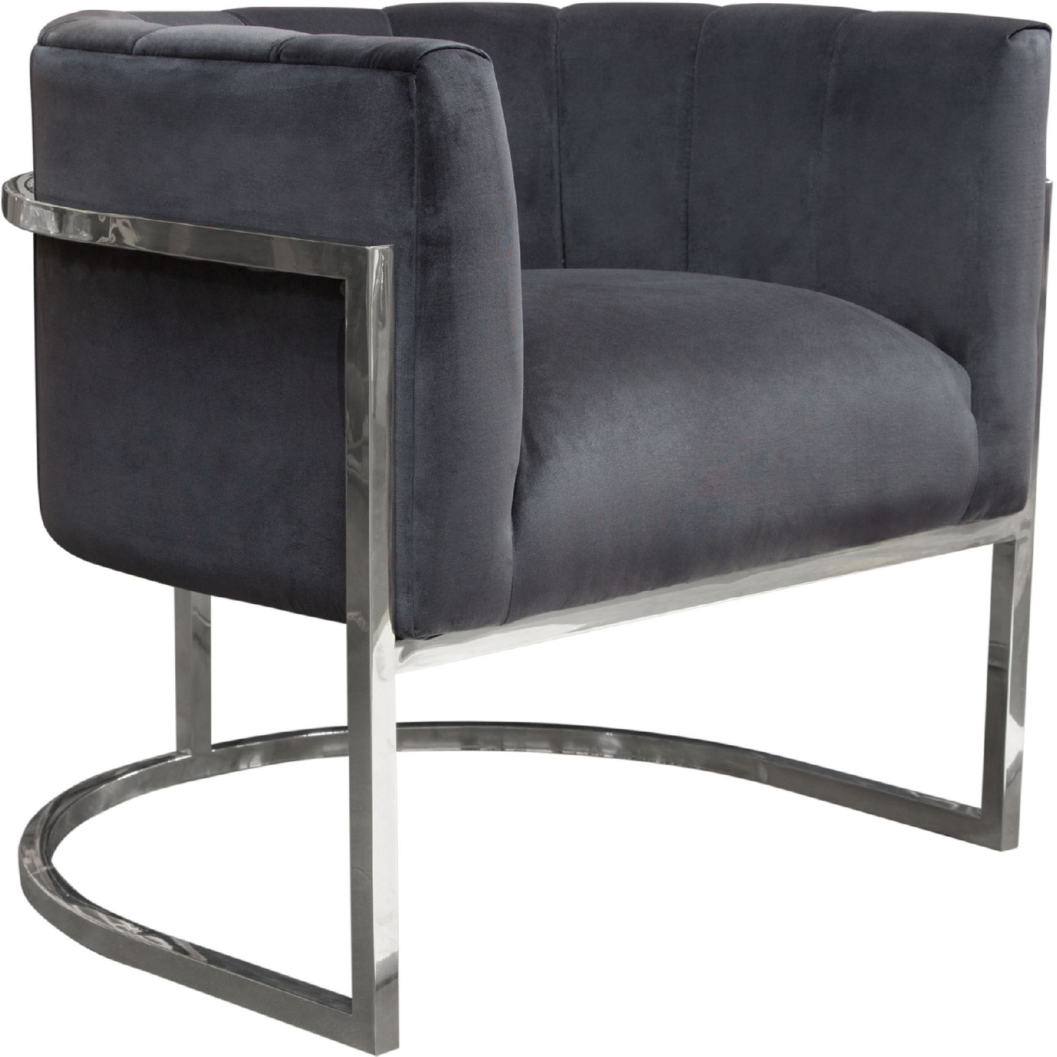 Pandora Accent Chair In Tufted Midnight Velvet On Stainless Steel By  Diamond Sofa