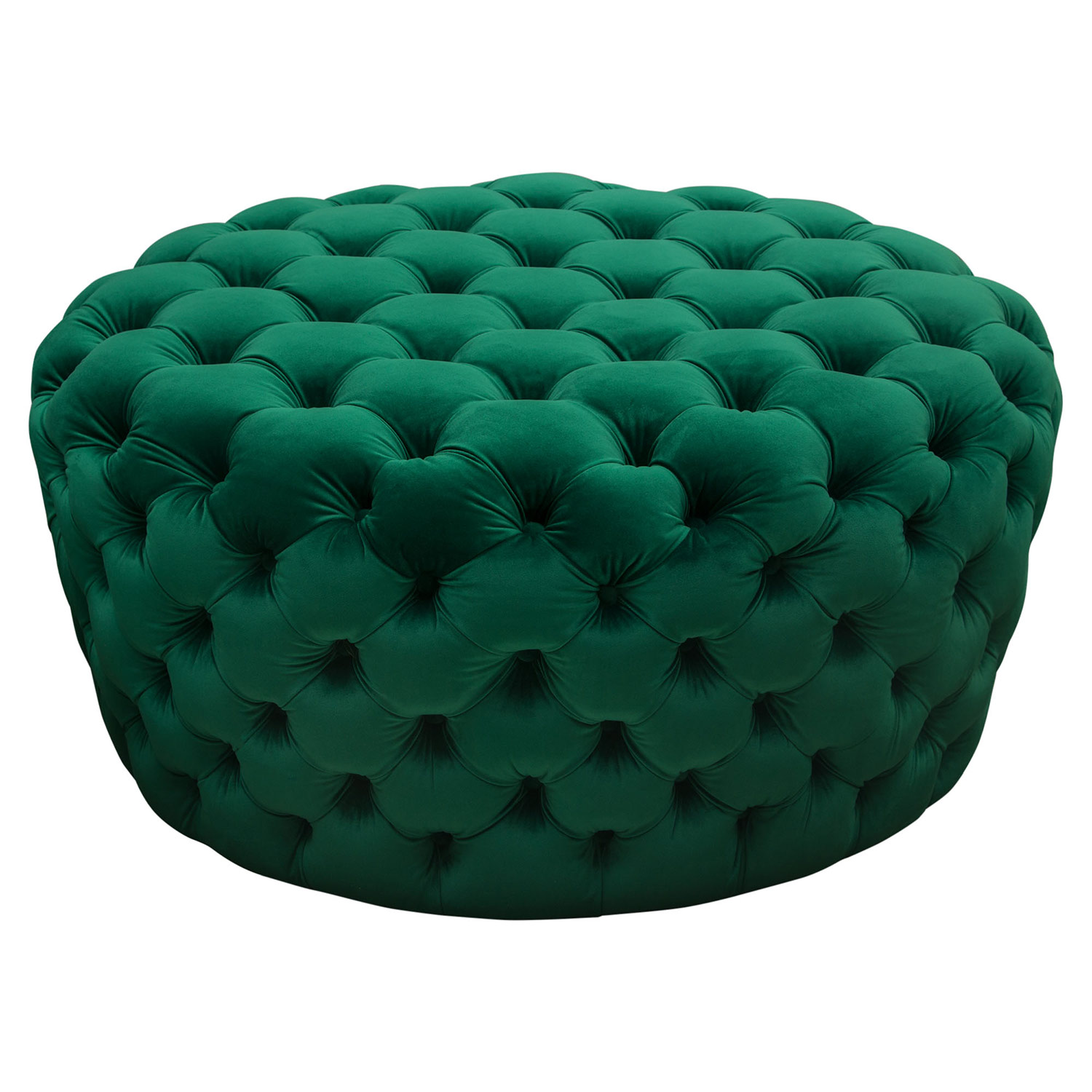 Stupendous Posh All Over Tufted Round Ottoman In Emerald Green Velvet By Diamond Sofa Evergreenethics Interior Chair Design Evergreenethicsorg