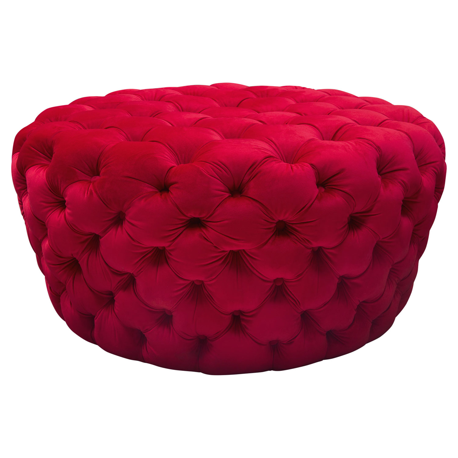 Posh All Over Tufted Round Ottoman in Red Velvet by Diamond Sofa