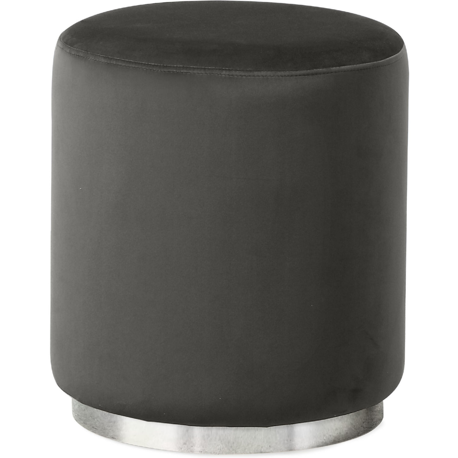 Brilliant Sorbet Round Ottoman In Grey Velvet W Silver Stainless Accent By Diamond Sofa Caraccident5 Cool Chair Designs And Ideas Caraccident5Info