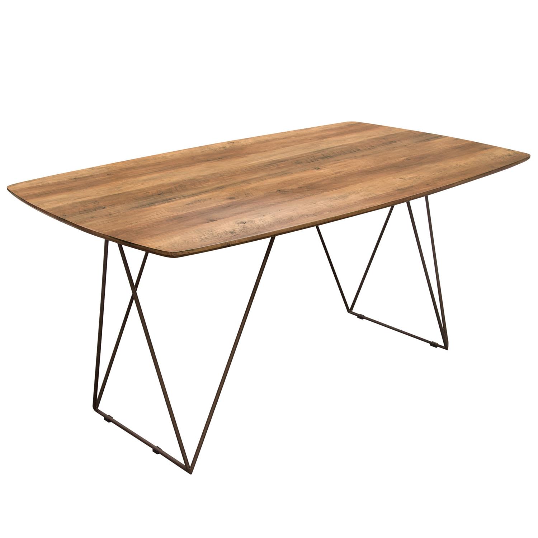 Astounding Star 63 Dining Table W Walnut Finished Top On Raw Metal Legs By Diamond Sofa Machost Co Dining Chair Design Ideas Machostcouk