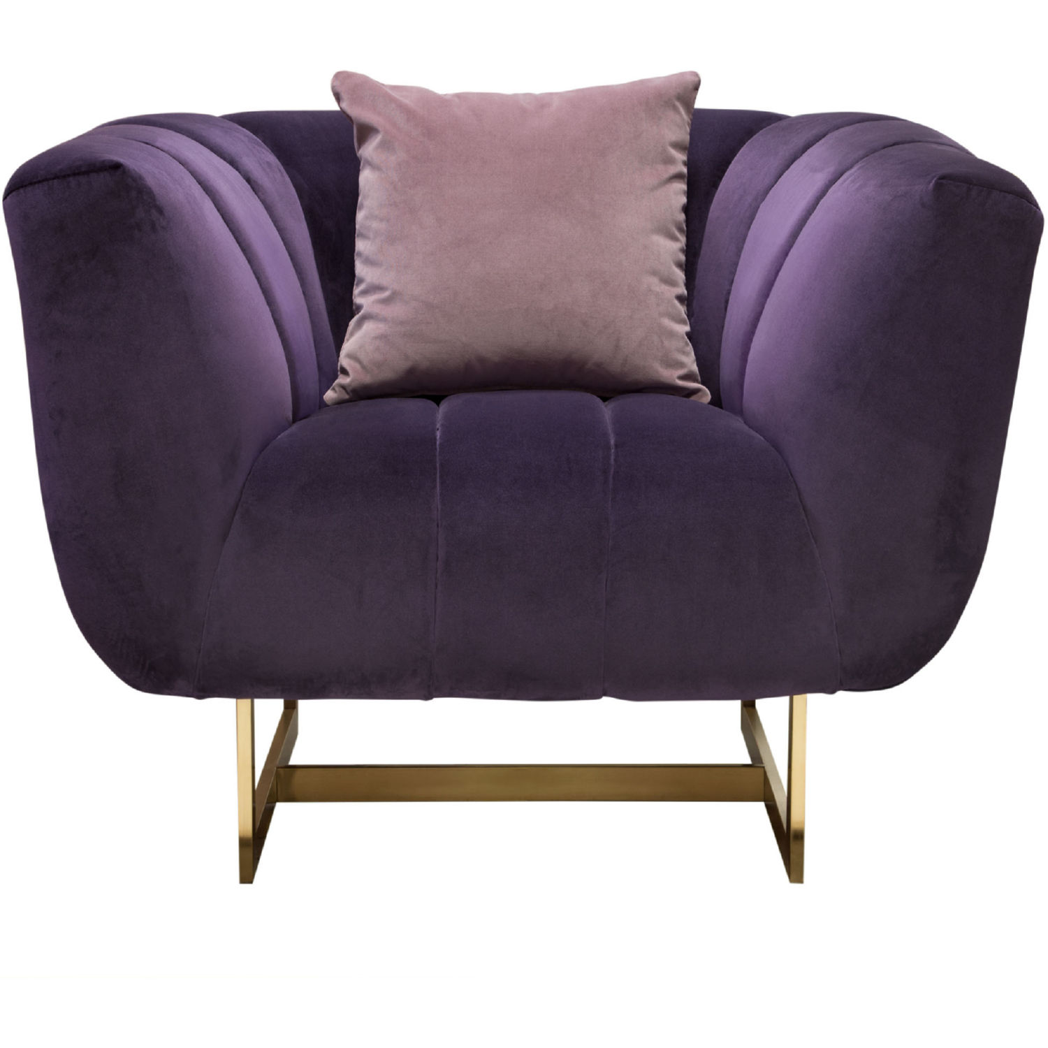 Excellent Venus Arm Chair In Channel Tufted Violet Purple Velvet On Gold Metal Base By Diamond Sofa Beatyapartments Chair Design Images Beatyapartmentscom