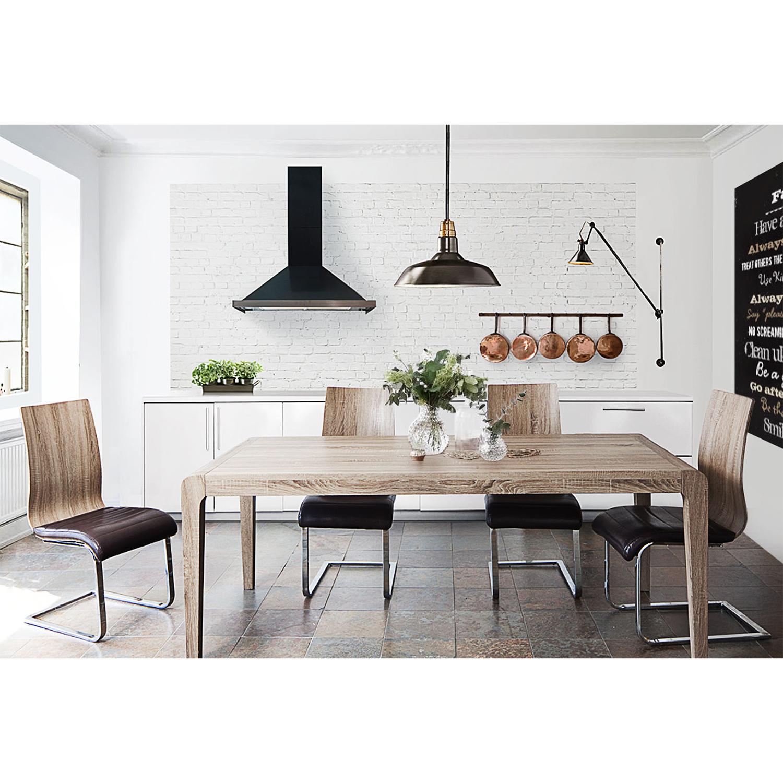 diamond sofa winddt wind dining table in ash brown w curved edge rh dynamichomedecor com Round Pedestal Dining Table Rectangular Dining Table