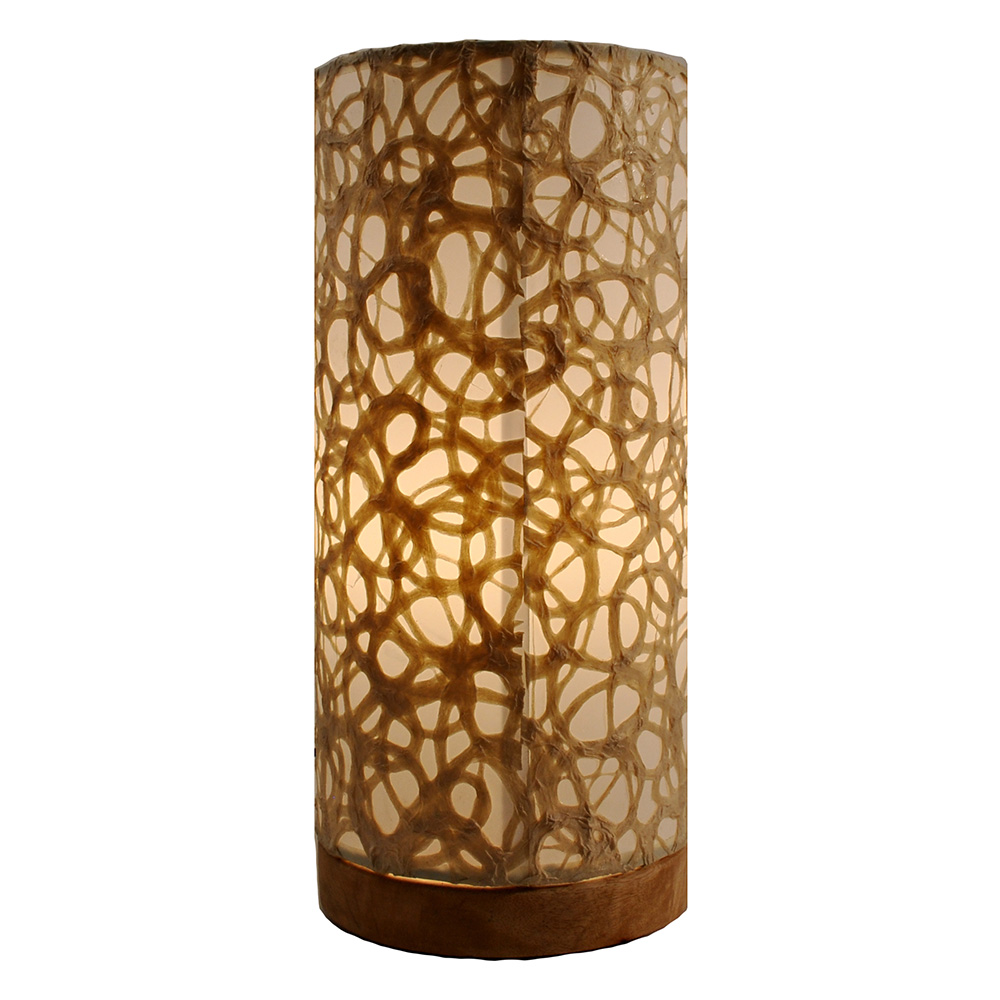 Eangee 645 d paper cylinder table lamp w swirl shade on for Paper cylinder floor lamp
