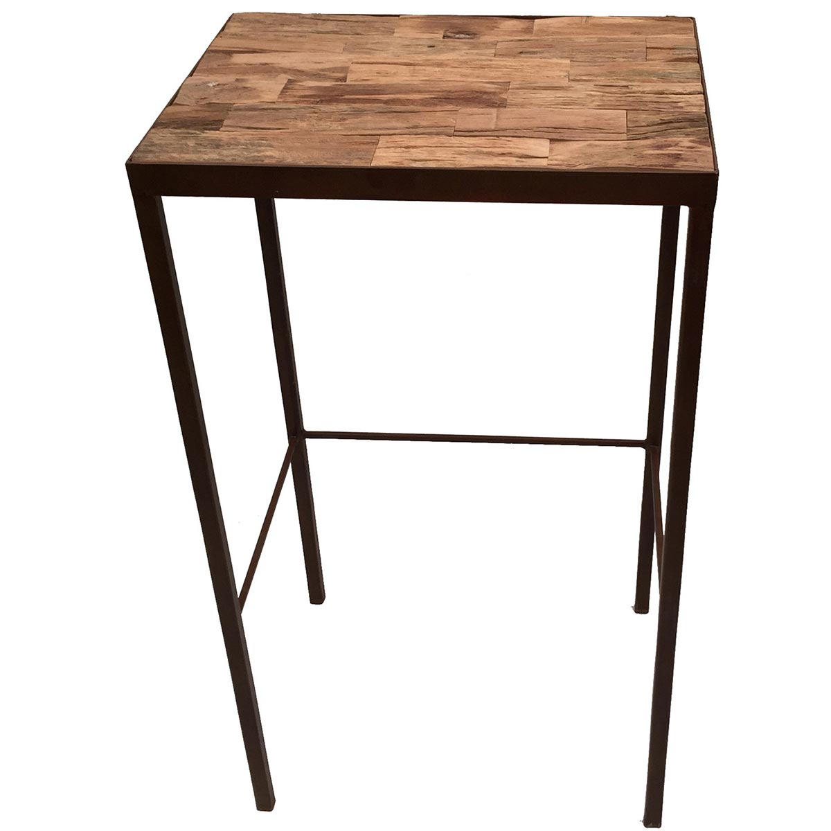 Eangee Driftwood Tile Top Accent Table On Weathered Metal Frame U0026 Legs