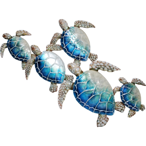 Sea Turtle Wall Decor in Multicolor Capiz & Metal (Set of 7) by Eangee Home  Design