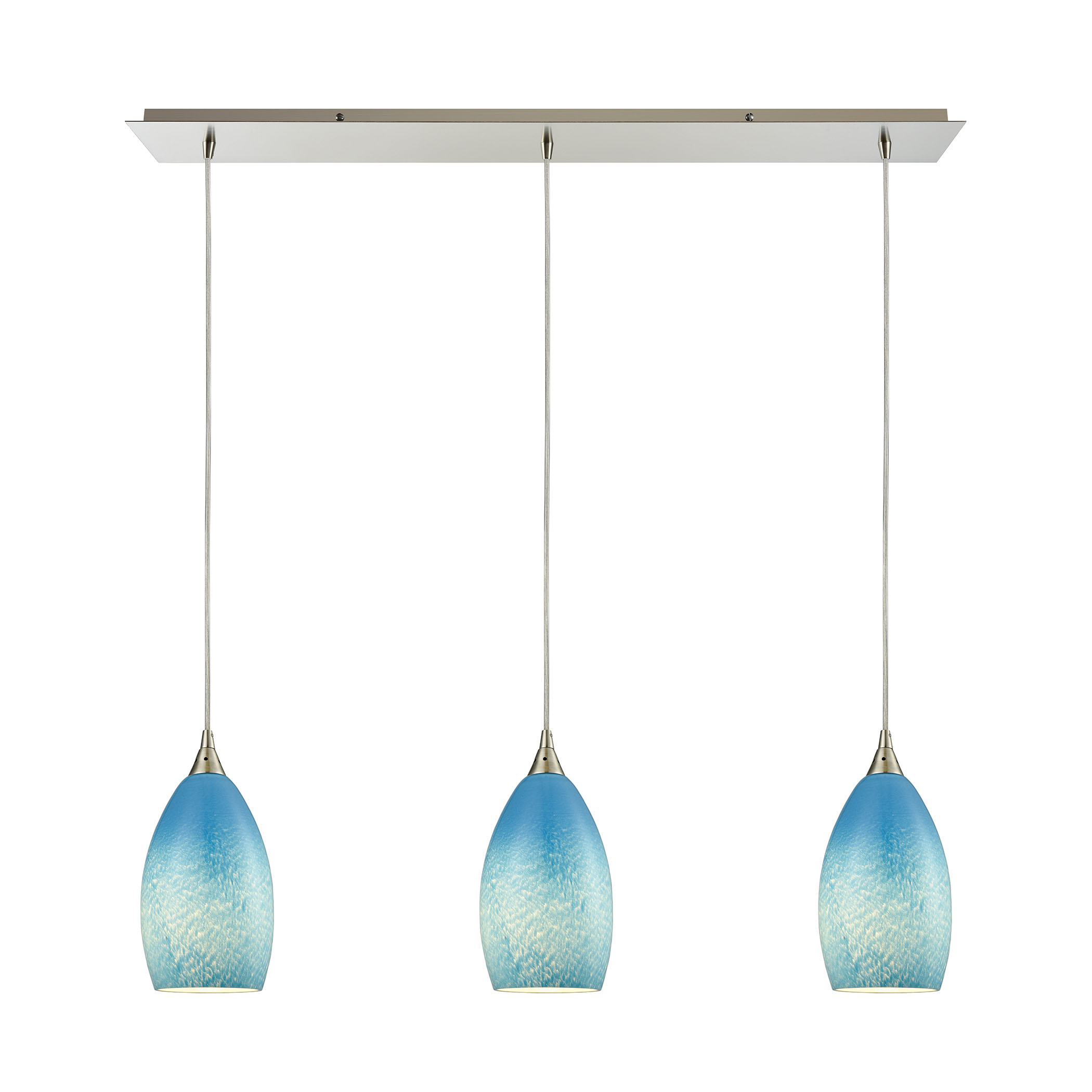 Elk Lighting 10510 3lp Sky Earth 3 Light Ceiling Pendant In Wiring A Without Satin Nickel Blue Glass By