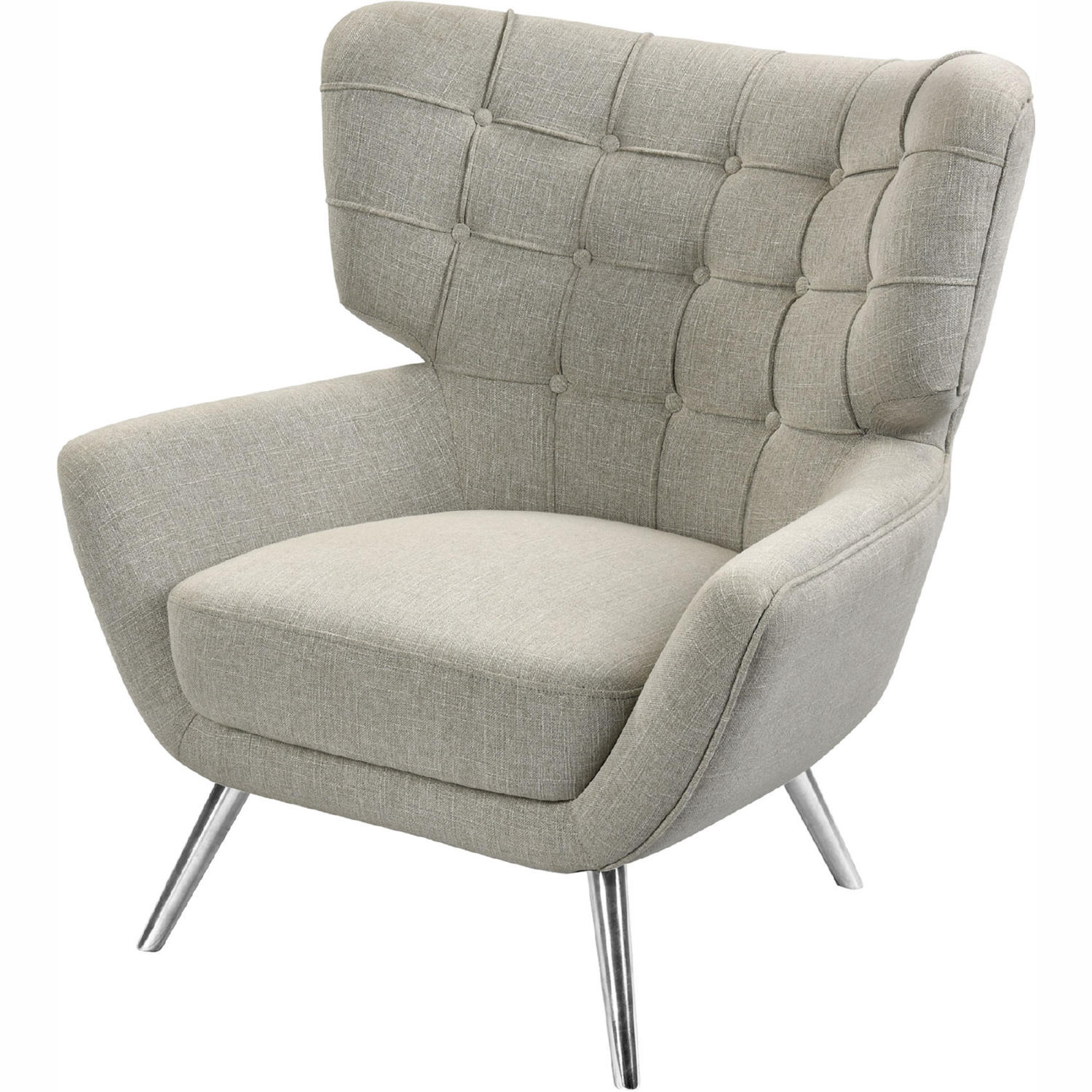 Determinative Accent Chair In Grey Linen Stainless Steel By Elk Home