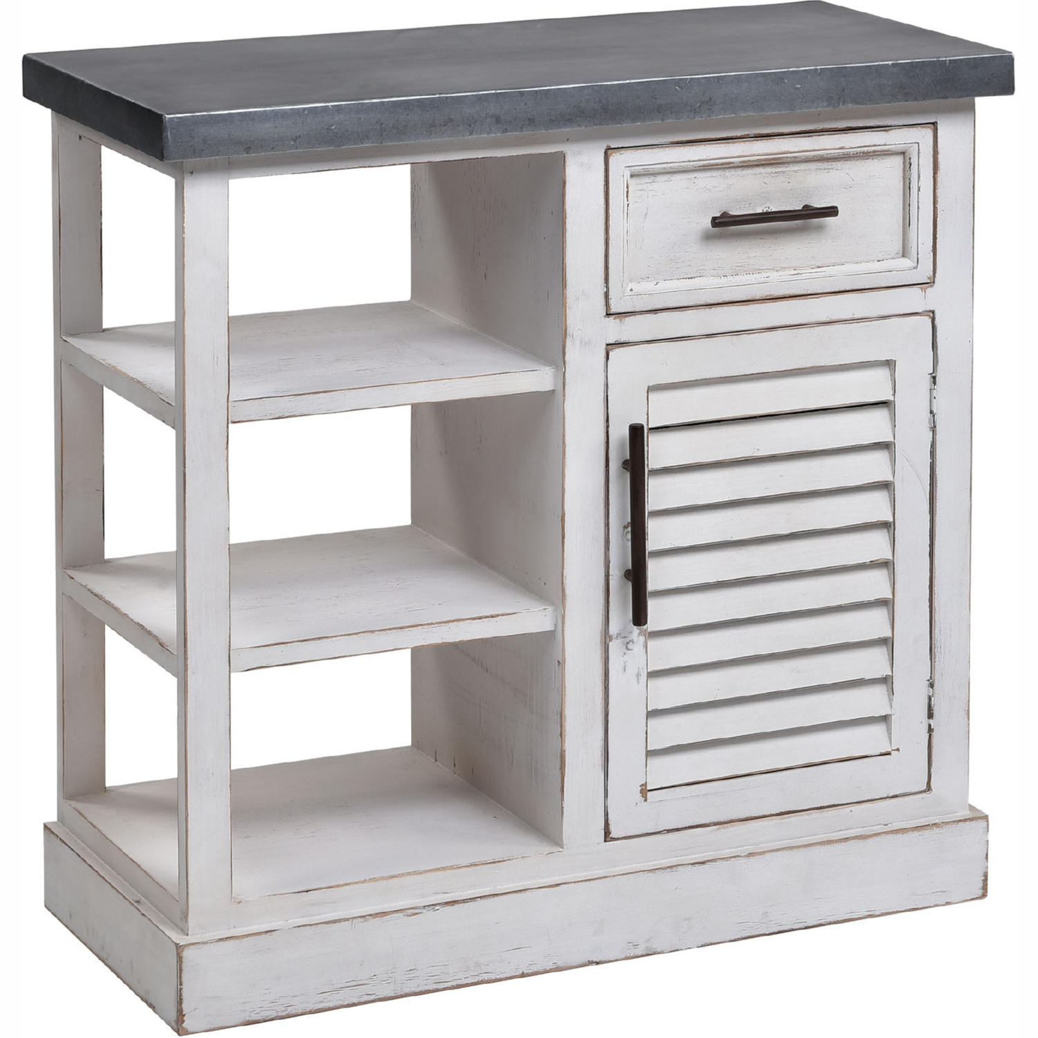 Ballintoy 31 Cabinet In Antique White Wood Galvanized Steel By Elk Home