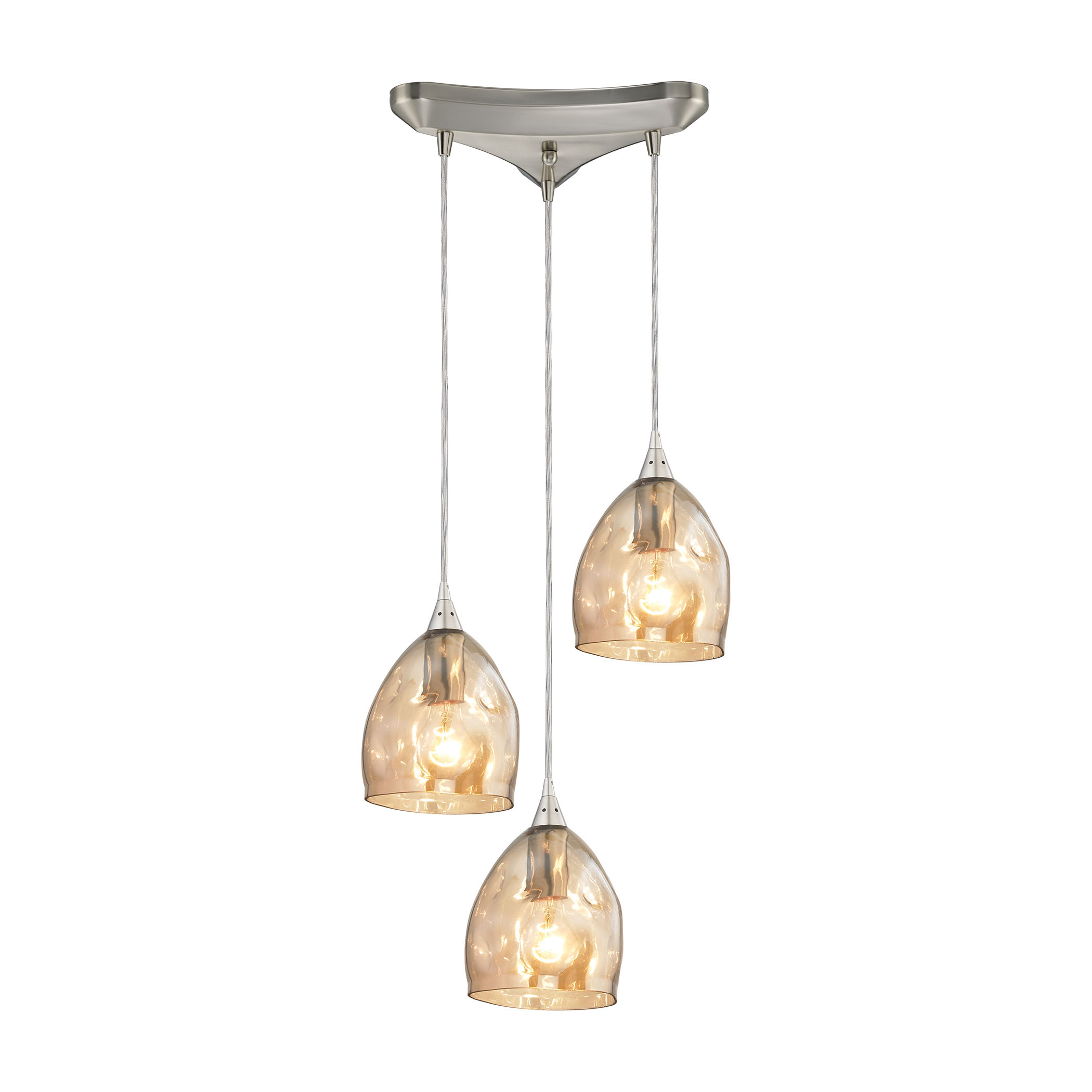 Elk Lighting 31595 3 Niche 3 Light Ceiling Pendant Light In Satin Nickel Champagne Plated Glass