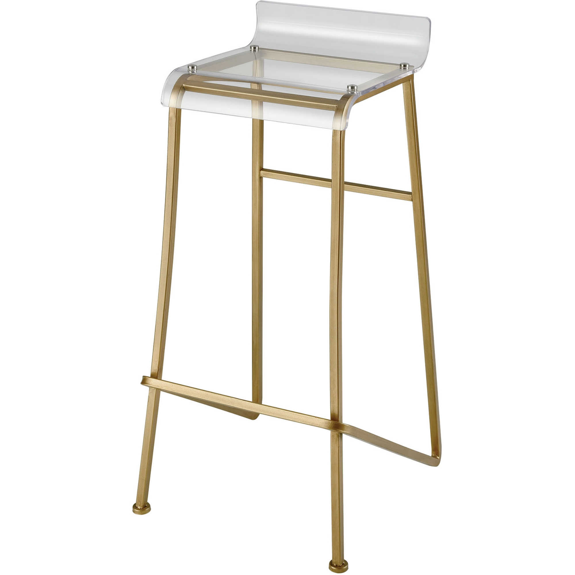 Etonnant Hyperion Bar Stool In Clear Acrylic On Aged Gold Base