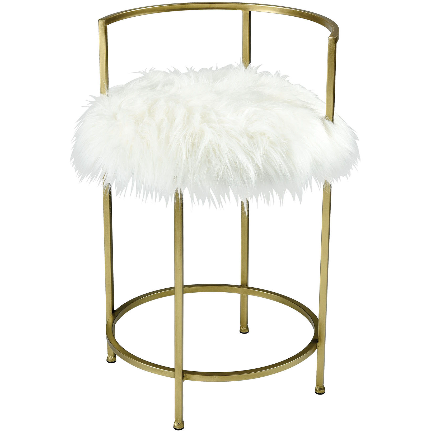 new product 14125 e592b Charmed I'm Sure Bar Stool in White Faux Fur & Gold Metal by ELK Home
