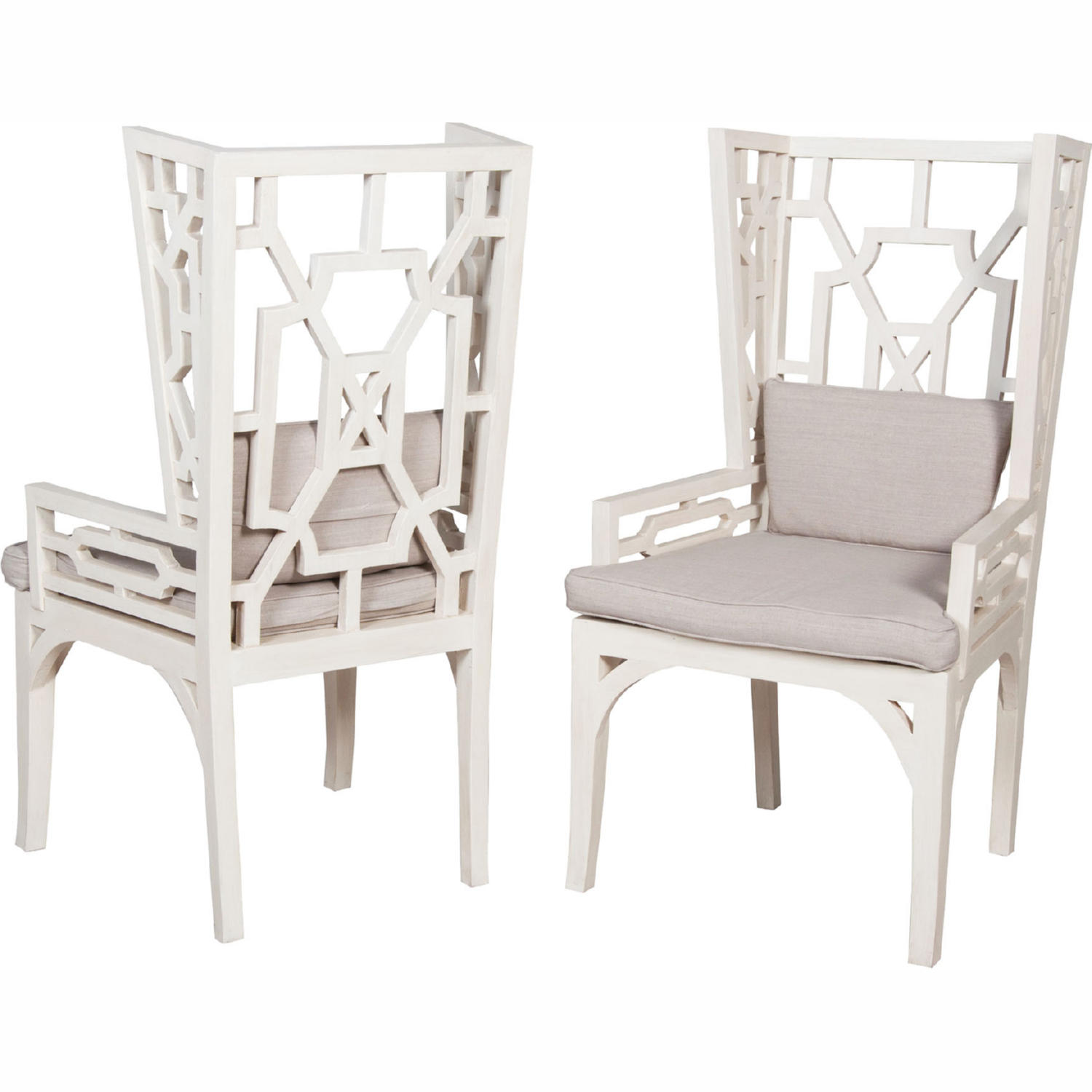 Outstanding Manor Wing Accent Chair In White Wood Grey Linen Set 2 By Elk Home Gamerscity Chair Design For Home Gamerscityorg