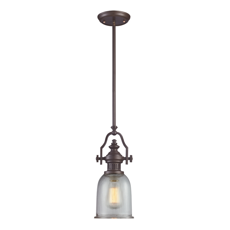 Chadwick 1 Light Pendant In Oiled Bronze W Amber Gl By Elk Lighting