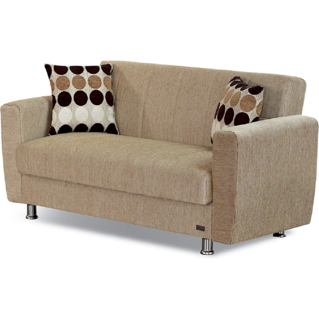 Astoria Convertible Loveseat in Channel Tufted Beige Chenille by Empire  Furniture