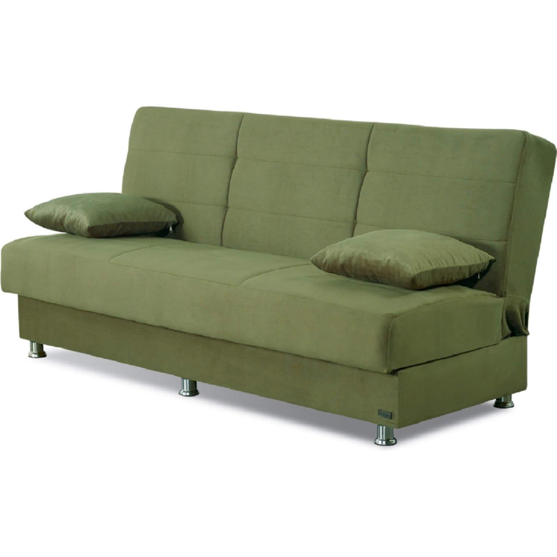 Remarkable Atlanta Armless Sleeper Sofa W Storage In Green Microfiber By Empire Furniture Customarchery Wood Chair Design Ideas Customarcherynet