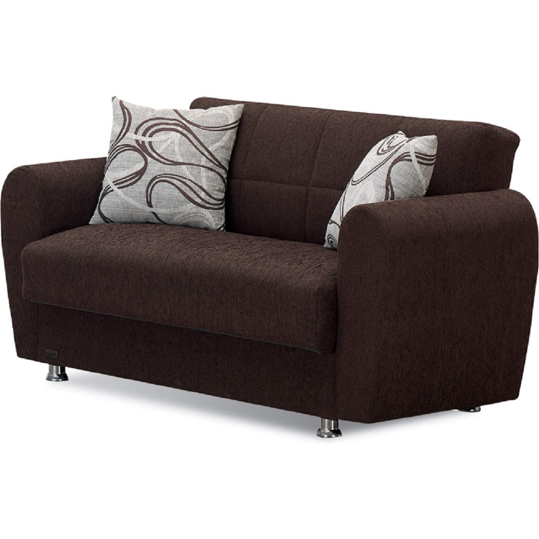 Boston Convertible Loveseat In Dark Brown Chenille By Empire Furniture