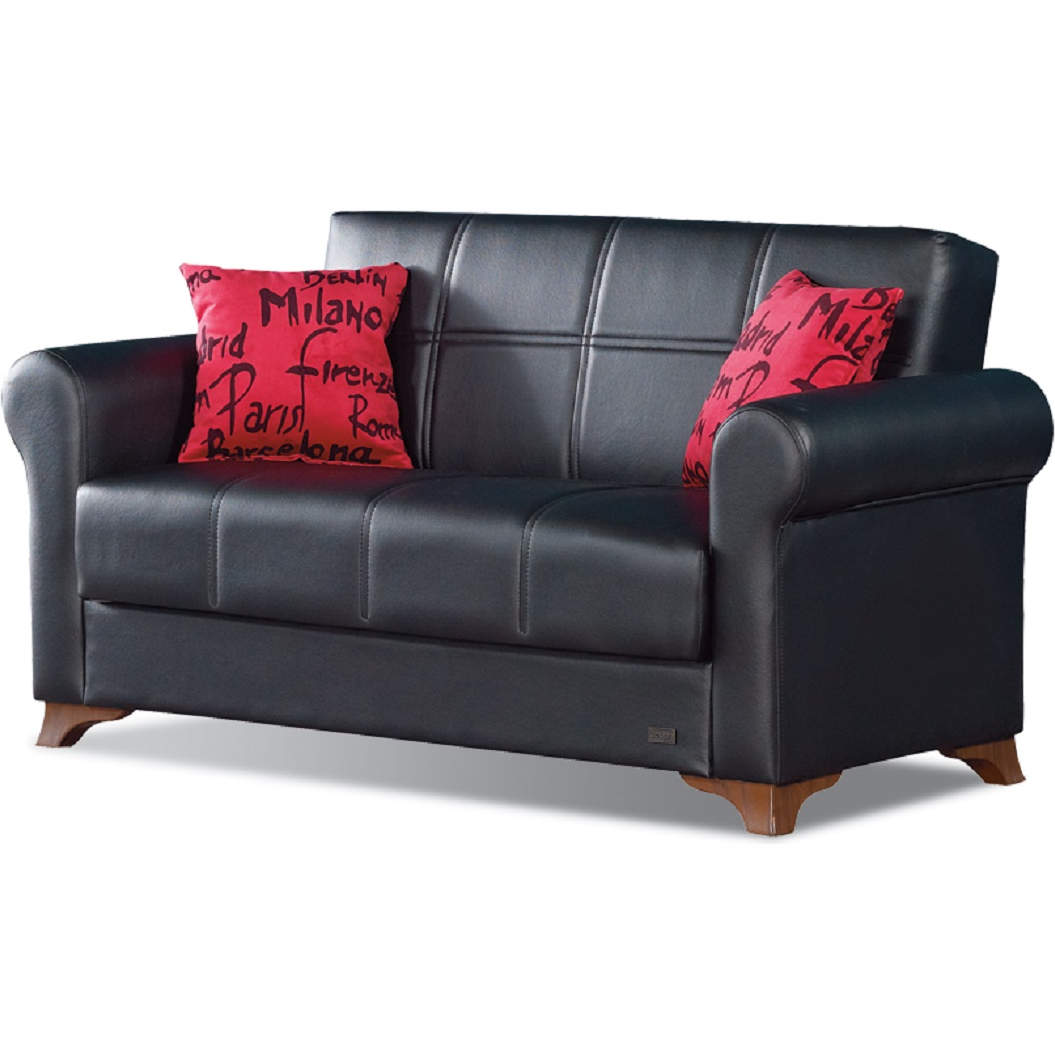 Marvelous Harlem Convertible Loveseat In Black Leatherette By Empire Furniture Gamerscity Chair Design For Home Gamerscityorg