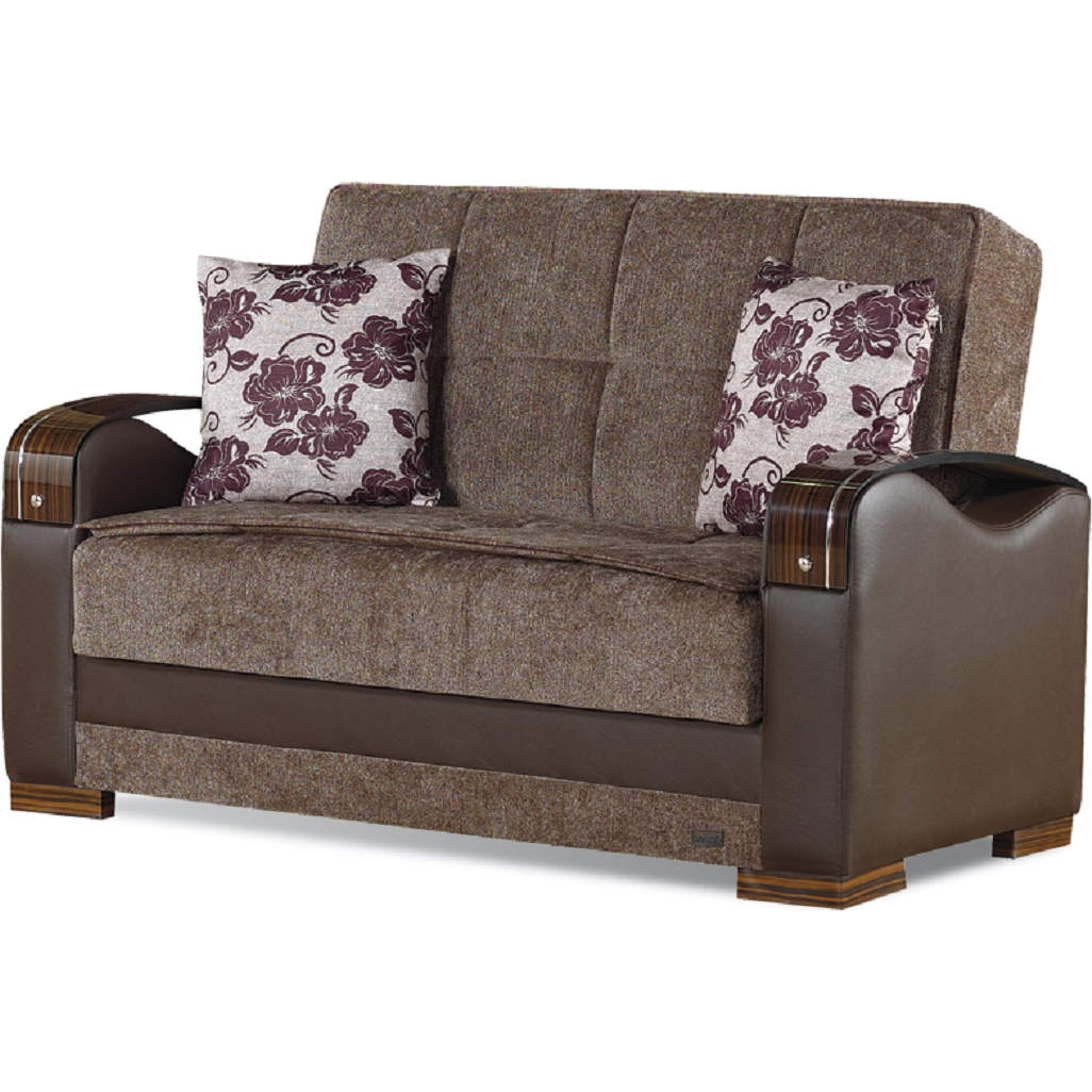 Hartford Convertible Loveseat in Brown Fabric and Leatherette by Empire  Furniture