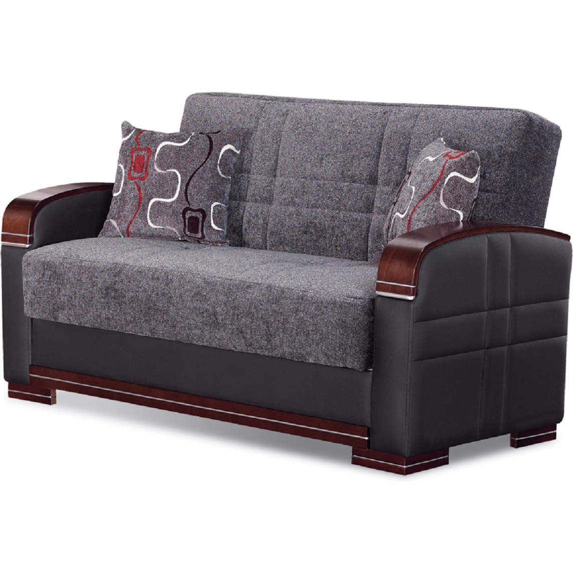 Terrific Montana Convertible Loveseat In Gray Fabric Black Leatherette By Empire Furniture Evergreenethics Interior Chair Design Evergreenethicsorg