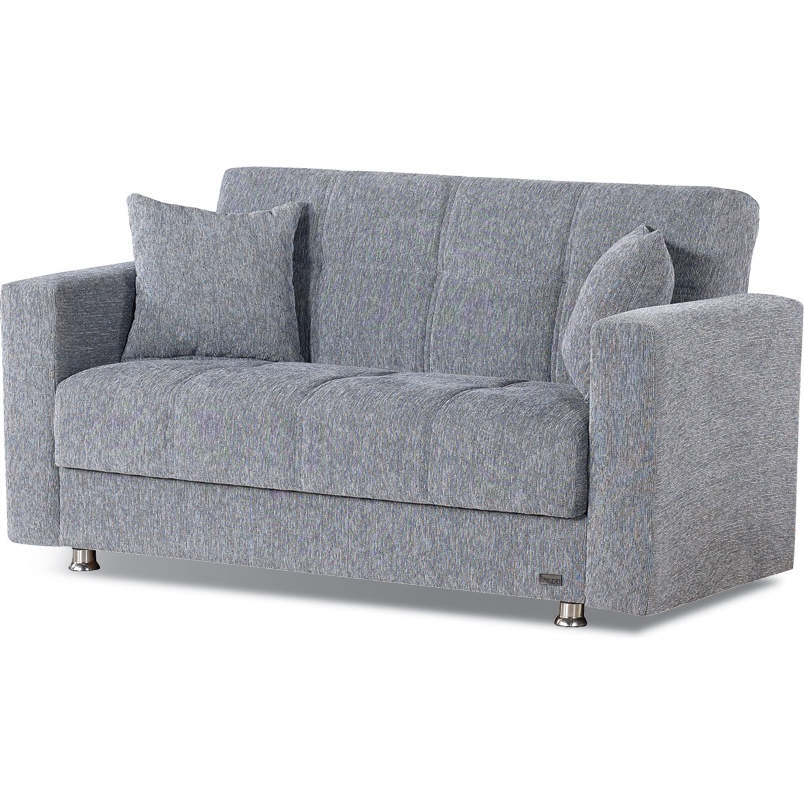 Niagara Convertible Loveseat in Light Gray Chenille by Empire Furniture