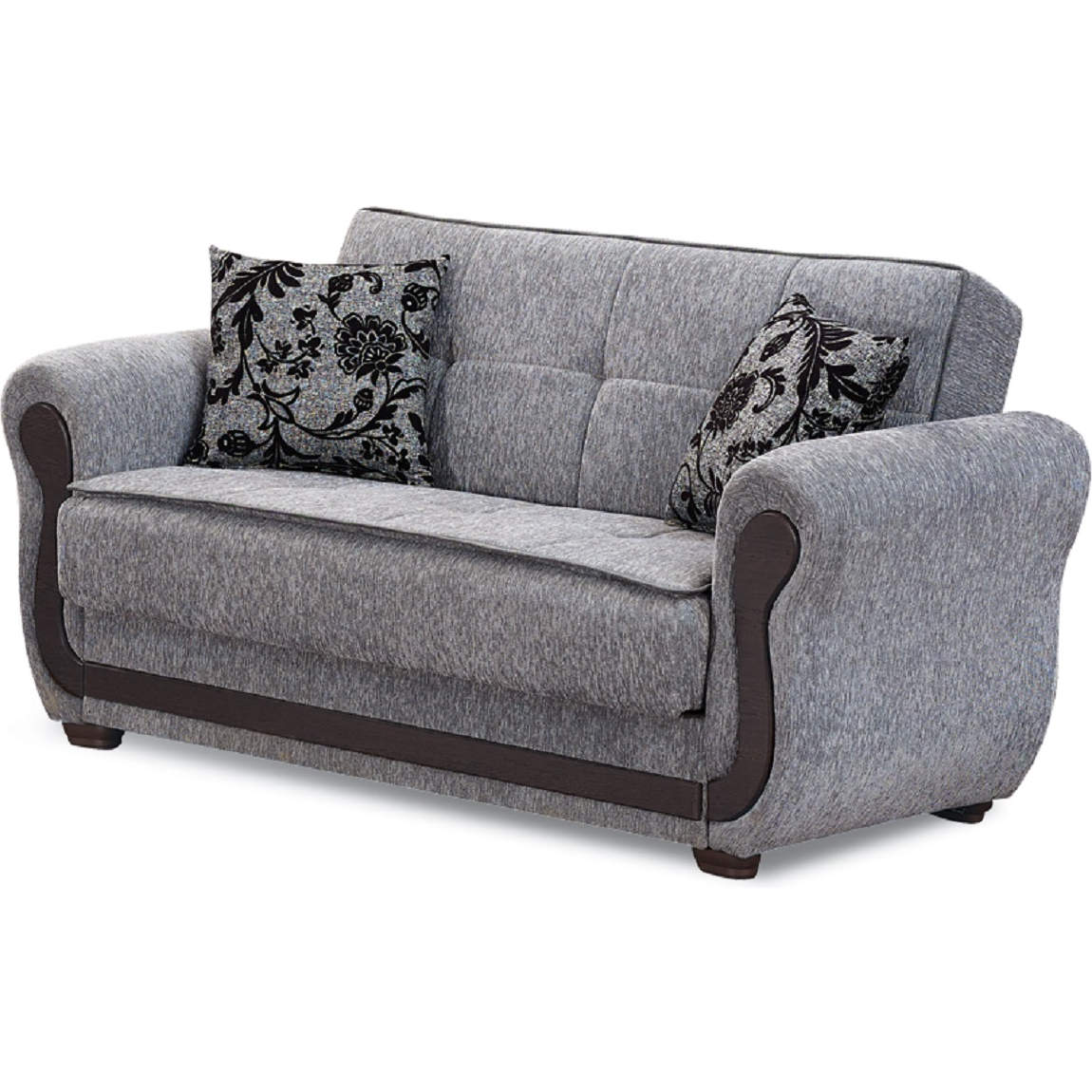 Surf Ave Convertible Loveseat in Light Grey Chenille by Empire Furniture