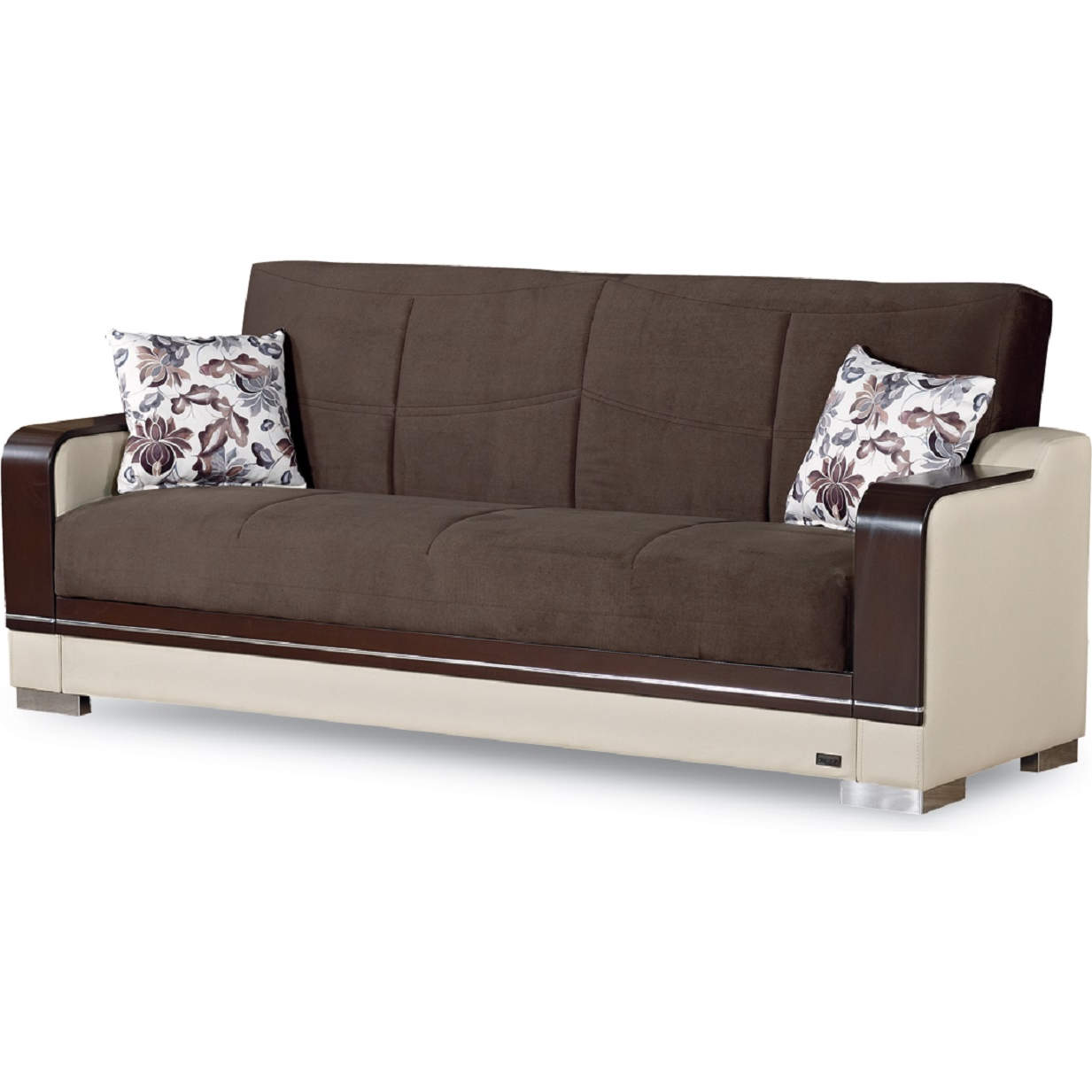 Texas Sleeper Sofa in Brown Chenille & Beige Leatherette by Empire Furniture
