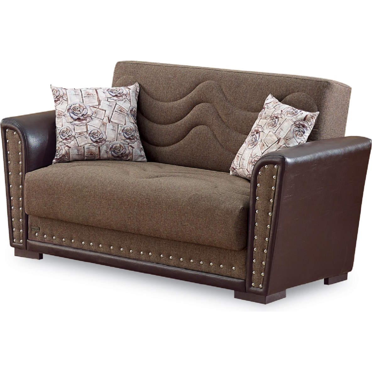 Toronto Convertible Loveseat in Brown Chenille & Leatherette by Empire  Furniture