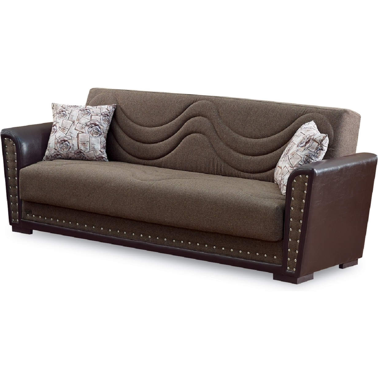Toronto Sleeper Sofa in Brown Chenille & Leatherette by Empire Furniture