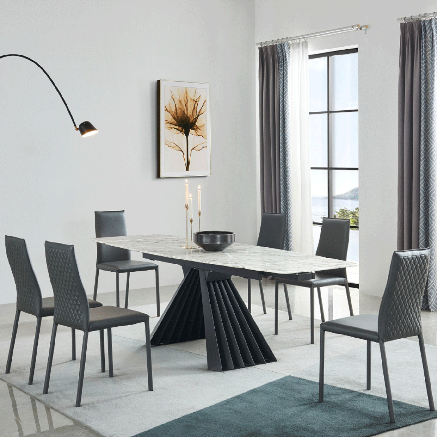 Esf Imports 152diningtable 152 71 Extension Dining Table In Marble Glass Steel