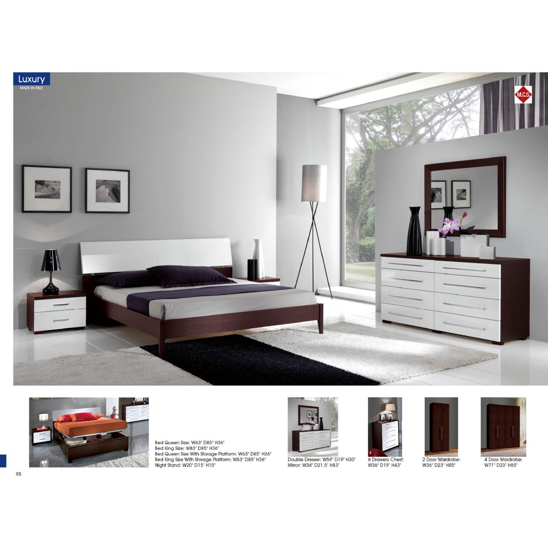 Luxury 4 Door Wardrobe In Wenge White By Esf Furniture Imports