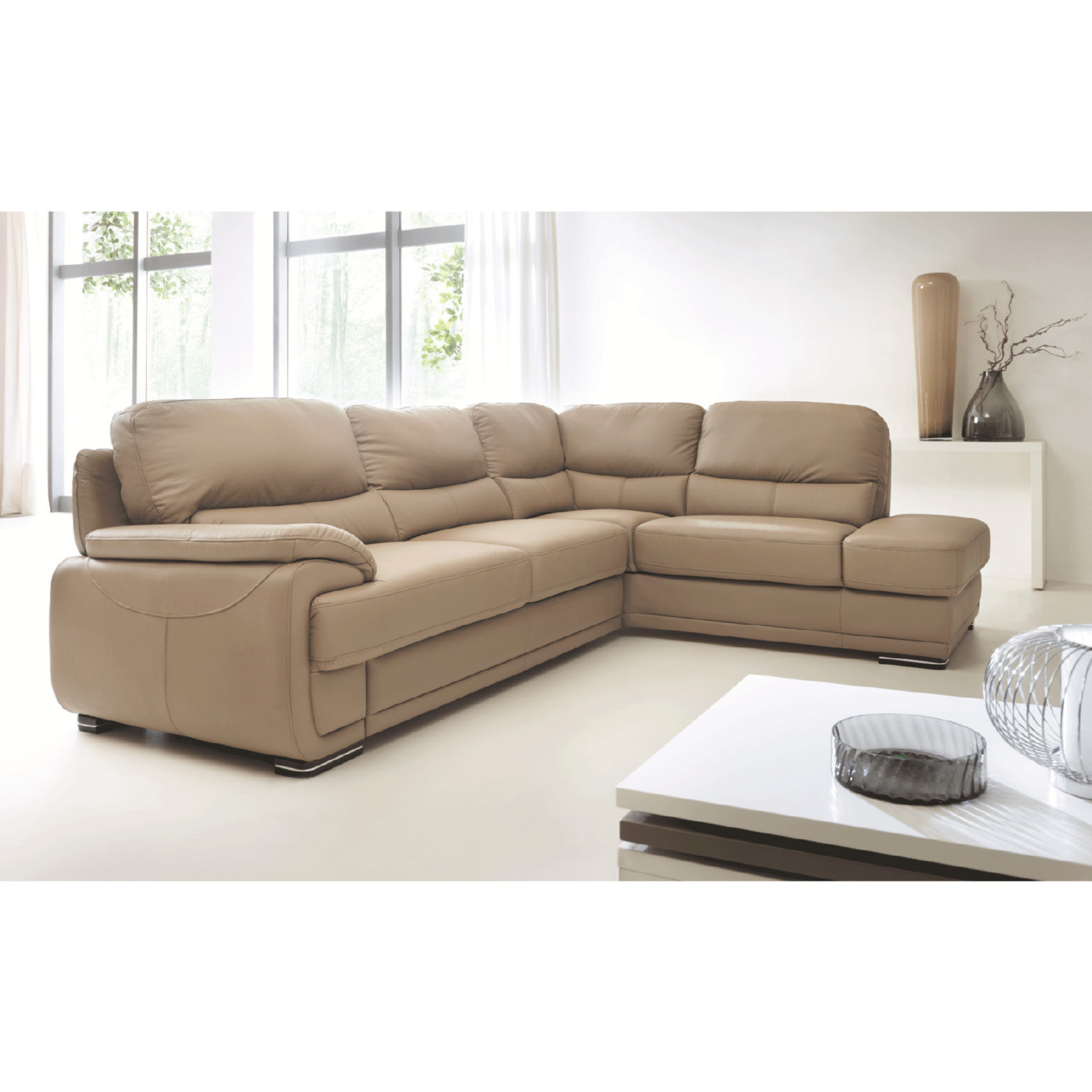 Esf Furniture Imports Argentosectionalrigh Argento Sectional Sofa W Bed Storage In Beige Leather