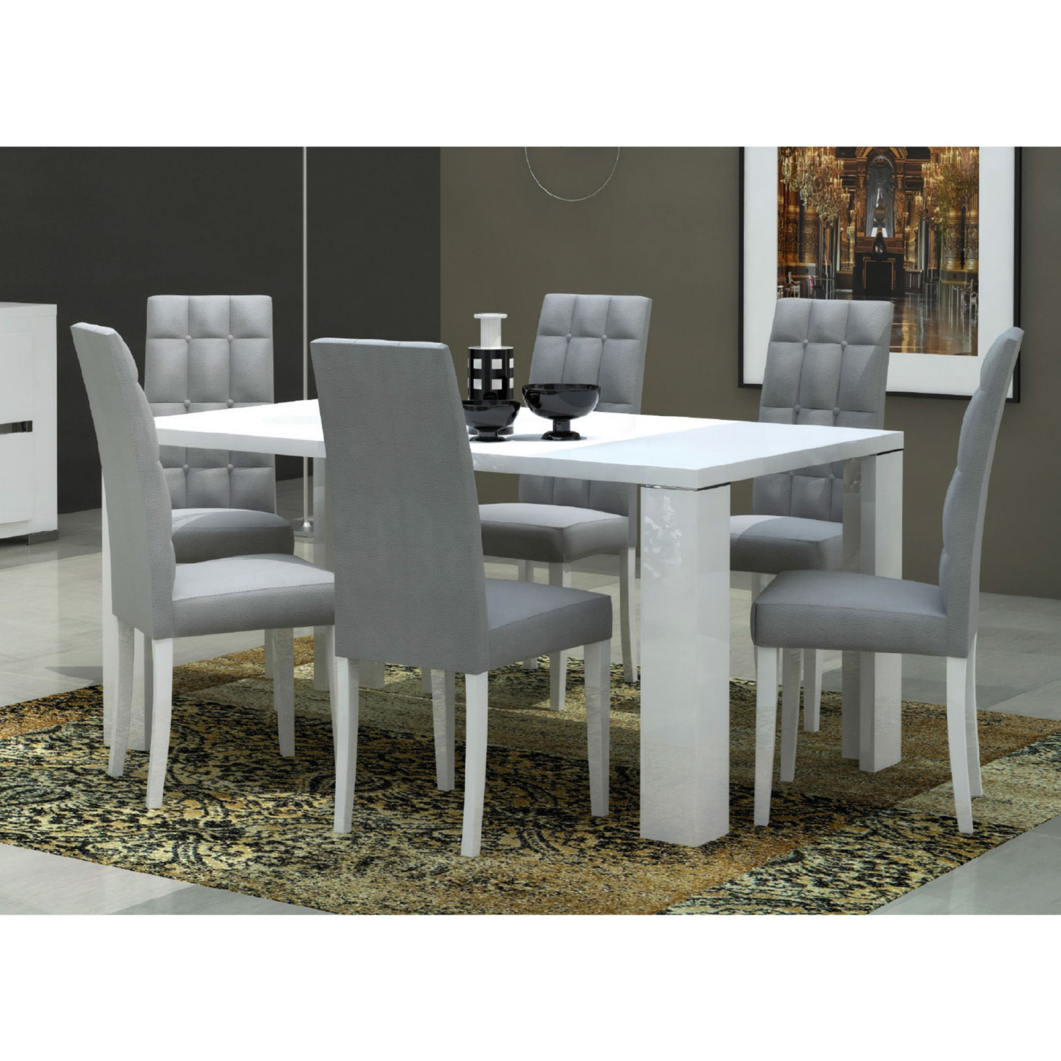Elegance Dining Chair In Gloss White W Tufted Grey Microfiber Set Of 2 By Esf Furniture Imports